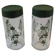 Glass Shakers with Green Ivy Pattern Salt and Pepper or Sugar Vintage Kitchen Tableware