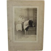 3 Brothers and Their Pony Photograph Photo Cabinet Card
