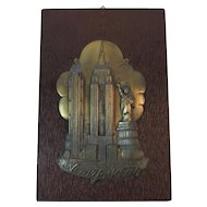 Art Deco Cast Metal New York City Souvenir Plaque on Wood