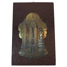 Art Deco Cast Metal New York City Souvenir Plaque on Wood