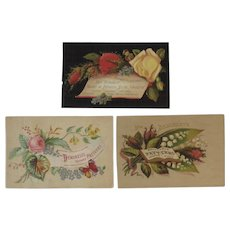 3 Mme Demorest's Reliable Patterns Victorian Trade Cards from Newport RI Store
