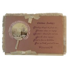 Victorian Pink Silk Christmas Card with White Silk Fringe and Ribbons