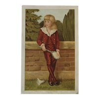 Marcus Ward Christmas Card Victorian Chromolithograph Boy Playing Badminton