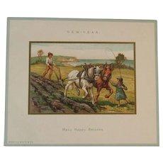 Marcus Ward New Years Card Victorian Farm Scene Many Happy Returns