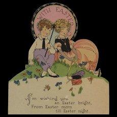 Mechanical Easter Card Art Deco Couple Scene