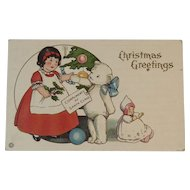 Stecher Litho Christmas Teddy Bear Postcard
