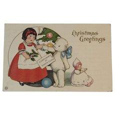 Stecher Litho Christmas Teddy Bear Postcard