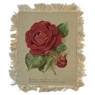 Victorian Silk Fringe Christmas Card Red and Yellow Roses
