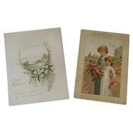2 Prang Victorian Christmas Cards 1886 & 1887