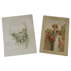2 Prang Victorian Christmas Cards 1886 & 1887