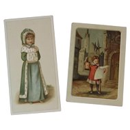 2 Victorian Christmas Cards Children in Fur Trimmed Coats Chromolithograph