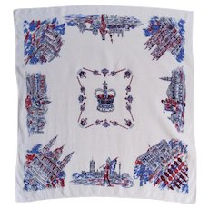 London Scenes Linen Tablecloth Vintage Luncheon or Card Table Cloth Size - Red Tag Sale Item