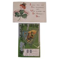 2 St. Patrick's Day Postcards F.A. Owen Leprechaun and Embossed Irish Castle Scene