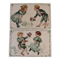 2 St. Patrick's Day Postcards Embossed Irish Dancing Children Series 14 Early 1900s E. Nash