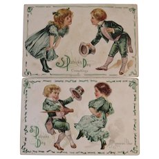 2 St. Patrick's Day Postcards Embossed Irish Dancing Children Series 14 Early 1900s E. Nash