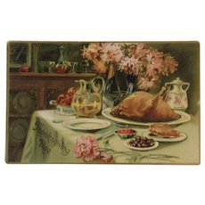1908 Tuck's Thanksgiving Turkey Spread Postcard Raphael Tuck & Sons Embossed German Saxony
