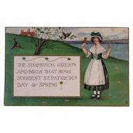 1920 Tuck's St. Patrick's Day Postcard Raphael Tuck & Sons German Saxony Irish Girl and Birds Shamrock
