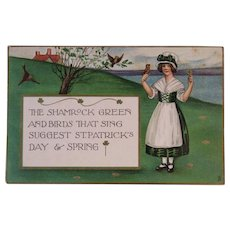 1920 Tuck's St. Patrick's Day Postcard Raphael Tuck & Sons German Saxony Irish Girl and Birds Shamrock