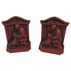 Red Monk in Library Cast Metal Bookends Book Ends - Red Tag Sale Item