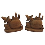 Mexican Motif Syroco Wood Bookends Book Ends Pot Cactus Sombrero Western