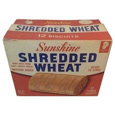 Sunshine Biscuit Shredded Wheat Box 1940s Vintage Kitchen