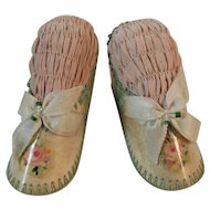 Pair of Shoe Pincushions Pink Roses, Silk, Green Crochet Trim, Ribbons and Beadwork Pin Cushions Sewing