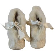 Vintage Quilted Satin Baby Shoes with Fur Trim