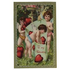 ECC German Cherubs Valentine Postcard E.C.C. Series Red Heart