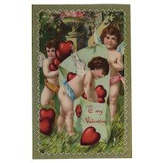 ECC German Cherubs Valentine Postcard E.C.C. Series Red Heart