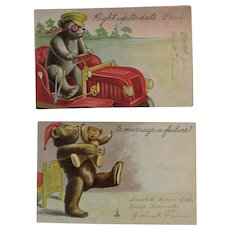 2 c1907 Embossed Jointed Bear Postcards Teddy Driving a Car - Red Tag Sale Item