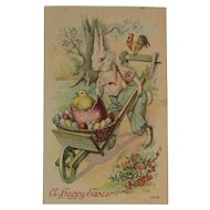 Easter Bunny Pushing Egg Cart with Chick and Rooster Postcard