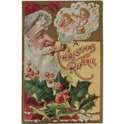 1909 Embossed Santa Postcard A Christmas Reverie Antique
