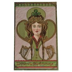 Art Nouveau St. Patrick's Day Postcard German Printed in Saxony Embossed Irish