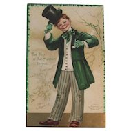 Clapsaddle Signed IAP St Patrick's Day Embossed Postcard German Germany Irish Boy