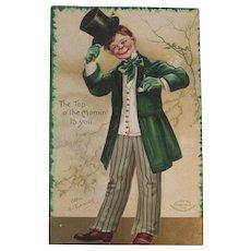 Clapsaddle Signed IAP St Patrick's Day Embossed Postcard German Germany Irish Boy