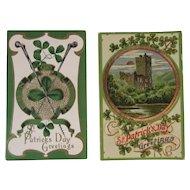 2 Embossed St. Patrick's Day Postcards One German c 1908 Irish Shamrock Castle