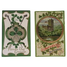 2 Embossed St. Patrick's Day Postcards One German c 1908 Irish Shamrock Castle