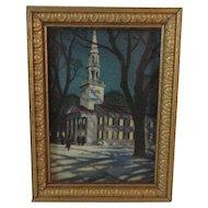 Dollhouse Miniature Winter Church Print in Gold Frame