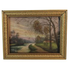 Dollhouse Miniature Cottage by the Road Print in Gold Frame