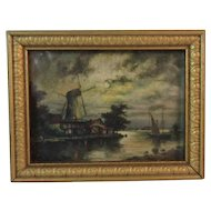 Dollhouse Miniature Dutch Windmill Print in Gold Frame