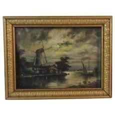 Dollhouse Miniature Dutch Windmill Print in Gold Frame