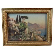 Dollhouse Miniature Seaside Print in Gold Frame