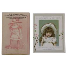 2 Victorian Trade Cards with Girl Playing Croquet