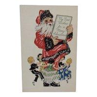 Embossed Santa Postcard Ring Around the Rosie Rosy Unused