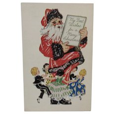Embossed Santa Postcard Ring Around the Rosie Rosy Unused