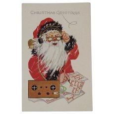 1930s Santa Using A Short Wave Radio Embossed Postcard
