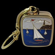 Sankyo Music Box Key Chain Keychain with Sailboats Works and Plays Music Box Dancer