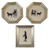 Set of 3 Silhouettes in Matching Frames Horse and Buggy Scenes and Colonial Gentleman