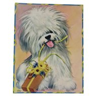 1950s Coby Embossed Oversized Fluffy Puppy Dog Birthday Card Unused with Envelope Shaggy Dog