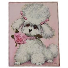 1950s Coby Embossed Oversized Poodle Puppy Dog Get Well Card Unused with Envelope Pink Rose and Pearls